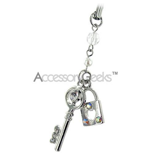 Key & Lock w/ Cubic Stones Cell Phone Charm - Clear