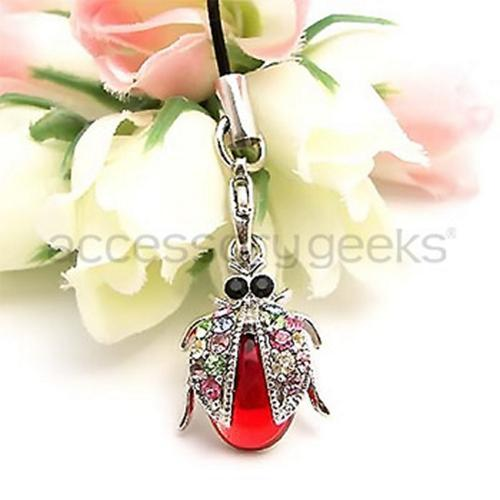 Sparkling Lady Bug Wings Cubic Stone Cell Phone Charm , Strap - Red w, Multi-Color Gems