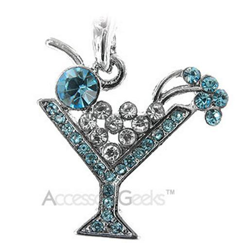 Martini Glass Cubic Stone Cell Phone Charm/Strap - blue