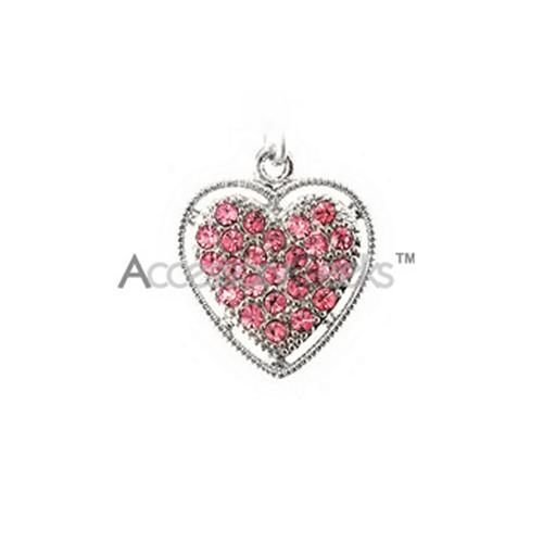 Sparkling Heart w/ Ring Trim Cubic Stone Cell Phone Charm - Pink