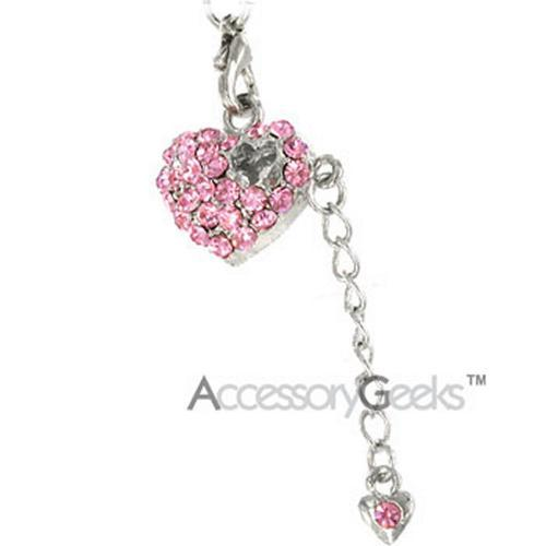 Small Heart with Pink Cubic Stones Covered Charm / Strap - pink