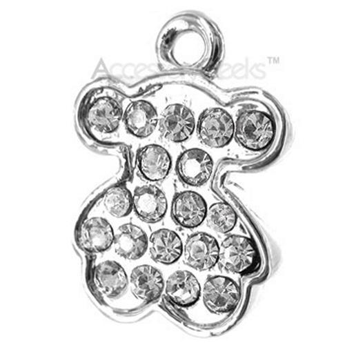 Jewel Encrusted Teddy Bear Cubic Stone Charm/Strap - clear