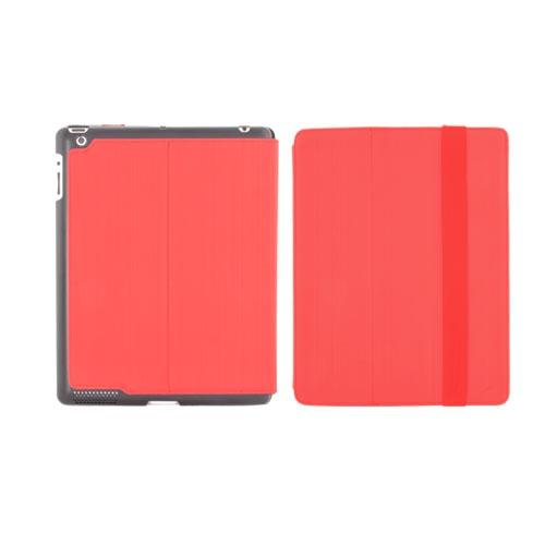 Original Hornettek Apple iPad 2, New iPad Voyager Hairline Design Hard Back Folio Case Stand - Red/ Black