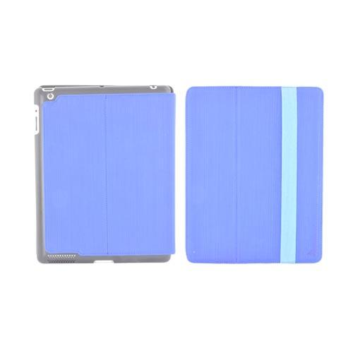 Original Hornettek Apple iPad 2, New iPad Voyager Hairline Design Hard Back Folio Case Stand - Blue/ Black