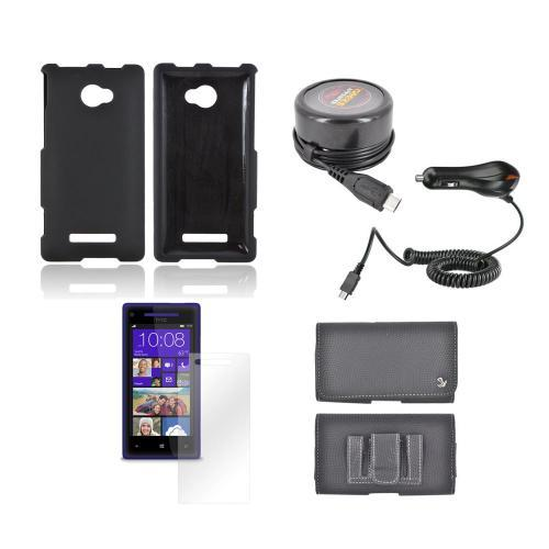 HTC 8X Essential Bundle Package w/ Black Rubberized Hard Case, Screen Protector, Leather Pouch, Car & Travel Charger