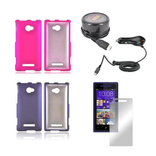 HTC 8X Girly Bundle Package w/ Hot Pink & Purple Rubberized Hard Case, Mirror Screen Protector, Car & Travel Charger