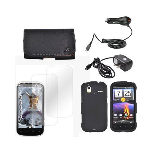 HTC Amaze 4G Essential Bundle Package w/ Black Rubberized Hard Case, 2 Pack Screen Protector, Leather Pouch, Car & Travel Charger