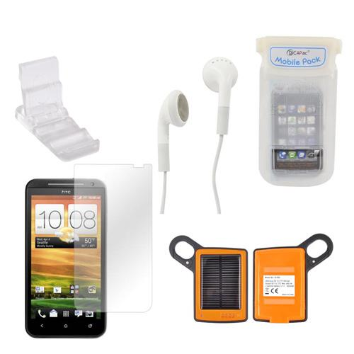 HTC EVO 4G LTE Summer Bundle Package w/ DiCAPac Waterproof Phone Case, Anti-Glare Screen Protector, Solar Charger, 3.5mm Earbuds, and Portable Keychain Kick Stand