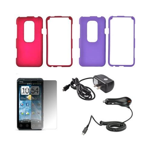 HTC EVO 3D Essential Bundle Package w/ Rose Pink & Purple Rubberized Hard Case, Mirror Screen Protector, Car & Travel Charger