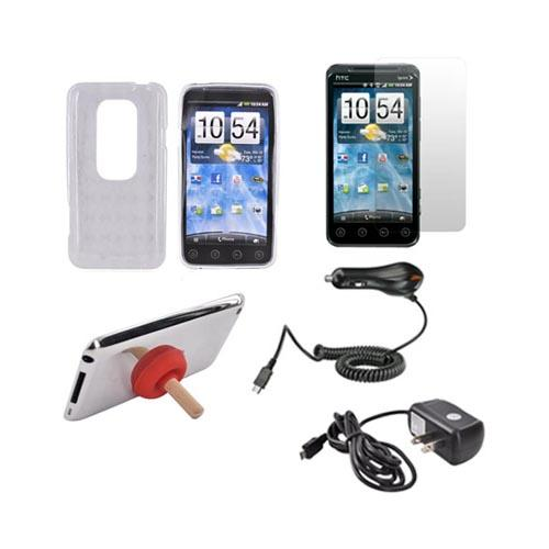 HTC EVO 3D Essential Bundle Package w/ Clear Crystal Silicone Case, Screen Protector, Red Plunger Stand, Car & Travel Charger