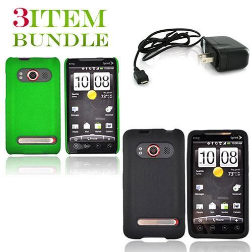 HTC EVO 4G Bundle Package - Green Hard Case, Silicone Case & Travel Charger - (Essential Combo)