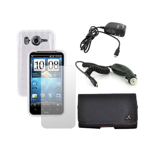 HTC Inspire 4G Essential Bundle Package w/ Clear Crystal Skin Case, Screen Protector, Pouch, Car and Travel Charger