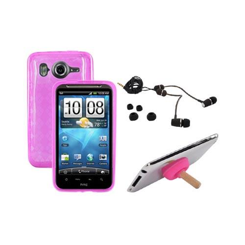 HTC Inspire 4G Pink Bundle Package w/ Pink Crystal Skin Case, RF3 Envi Headset and Plunger Stand