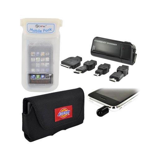 HTC Inspire 4G Summer Bundle Package w/ DiCAPac Waterproof Phone Case, Emergency Charger, Dickies Horizontal Pouch, Black Mini Microphone
