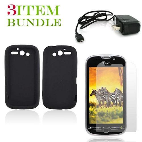 T-Mobile MyTouch 4G Bundle Package - Black Silicone Case, Screen Protector & Travel Charger - (Essential Combo)