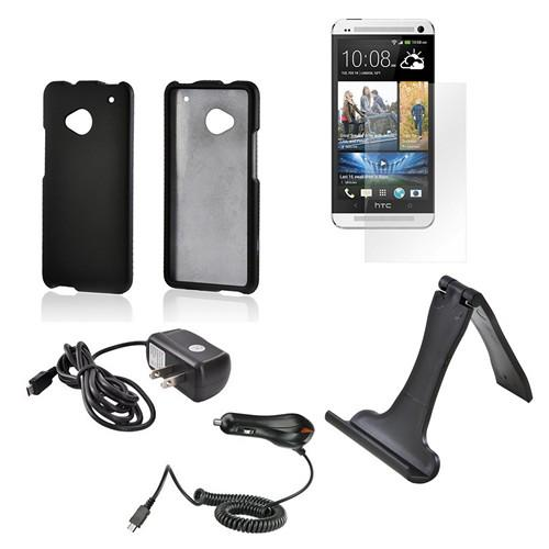 Essential Bundle Package w/ Black Rubberized Hard Case, Screen Protector, Portable Stand, Car & Travel Charger for HTC One