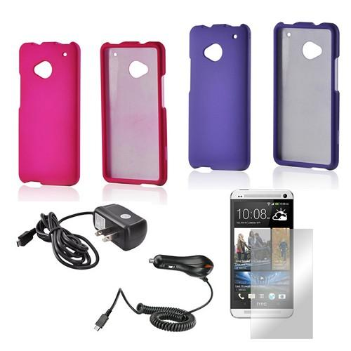 Essential Girly Bundle Package w/ Hot Pink & Purple Rubberized Hard Case, Mirror Screen Protector, Car & Travel Charger for HTC One