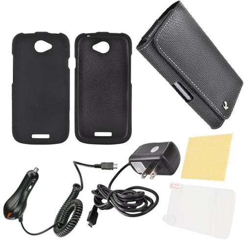 HTC One S Essential Bundle Package w/ Black Rubberized Hard Case, Anti-Glare Screen Protector, Leather Pouch, Car & Travel Charger