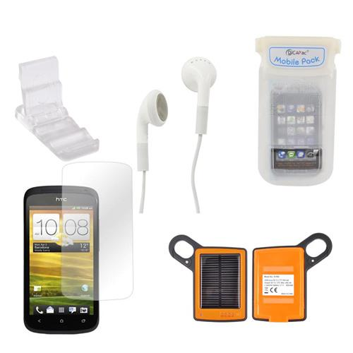 HTC One S Summer Bundle Package w/ DiCAPac Waterproof Phone Case, Anti-Glare Screen Protector, Solar Charger, 3.5mm Earbuds, and Portable Keychain Kick Stand