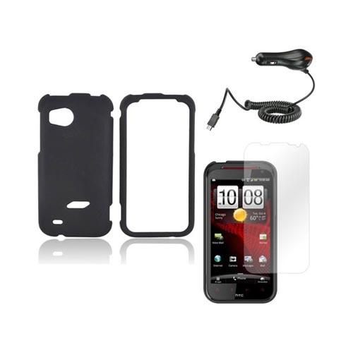 HTC Rezound Basic Bundle Package w/ Black Rubberized Hard Case, Screen Protector, and Car Charger