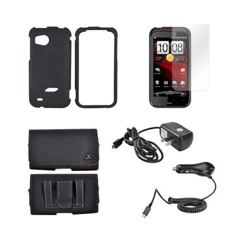 HTC Rezound Essential Bundle Package w/ Black Rubberized Hard Case, Screen Protector, Leather Pouch, Car & Travel Charger