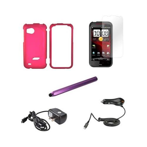 HTC Rezound Essential Bundle Package w/ Rose Pink Rubberized Hard Case, Screen Protector, Purple Metal Pen Stylus, Car & Travel Charger