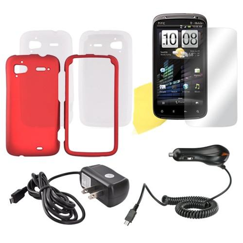 HTC Sensation 4G Essential Bundle w/ Red Rubberized Hard Case, Frost White Silicone Case, Mirror Screen Protector, Travel & Car Charger Charger