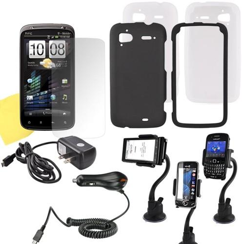 HTC Sensation 4G Essential Bundle w/ Black Rubberized Hard Case, Frost White Silicone Case, Screen Protector, Macally Suction Cup Holder, Travel & Car Charger Charger