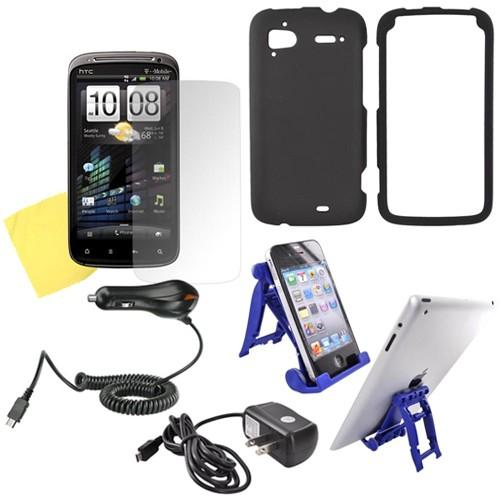 HTC Sensation 4G Essential Bundle w/ Black Rubberized Hard Case, Screen Protector, Car Charger, Travel Charger, & 3Feet Holder Stand