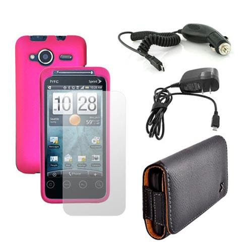 HTC EVO Shift 4G Essential Bundle w/ Hot Pink Rubberized Hard Case, Screen Protector, Leather Pouch, Car Charger, and Travel Charger
