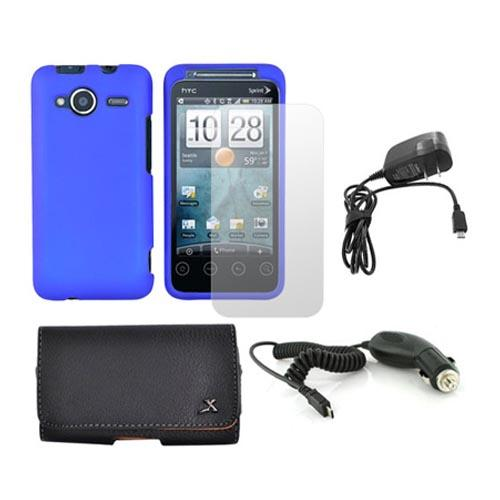 HTC EVO Shift 4G Essential Bundle w/ Blue Rubberized Hard Case, Screen Protector, Leather Pouch, Car Charger, and Travel Charger