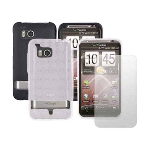 HTC Thunderbolt Black Hard Case, Crystal Silicone Clear Argyle Case and Screen Protector Essential Bundle