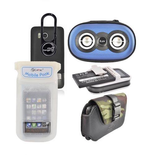 HTC Thunderbolt Summer Bundle Package w/ Black Battery Charger, Black ClipHanger w/ Light, DiCAPac Waterproof Phone Case, Dickies Horizontal Pouch, and Blue iLuv Speaker