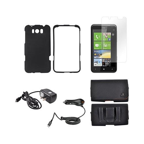 HTC Titan Essential Bundle Package w/ Black Rubberized Hard Case, Screen Protector, Leather Pouch, Car & Travel Charger