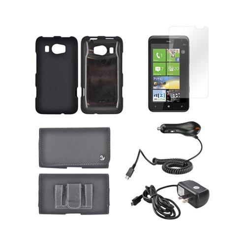 HTC Titan 2 Essential Bundle Package w/ Black Rubberized Hard Case, Screen Protector, Leather Pouch, Car & Travel Charger