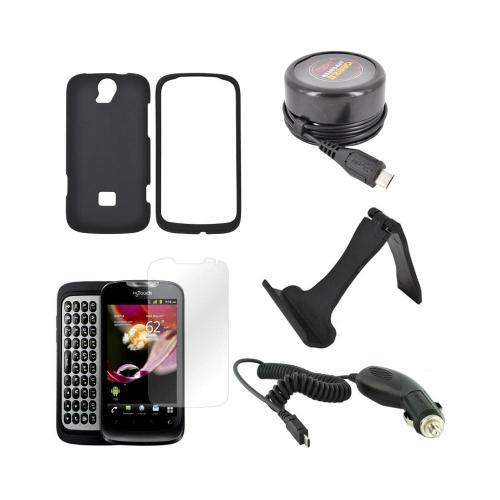 T-Mobile Huawei myTouch Q Essential Bundle Package w/ Black Rubberized Hard Case, Screen Protector, Portable Stand, Car & Travel Charger