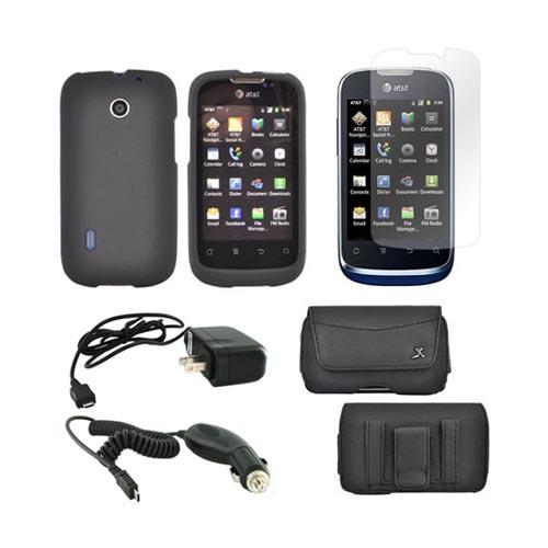 AT&T Fusion U8652 Essential Bundle Package w/ Black Rubberized Hard Case, Screen Protector, Leather Pouch, Car & Travel Charger