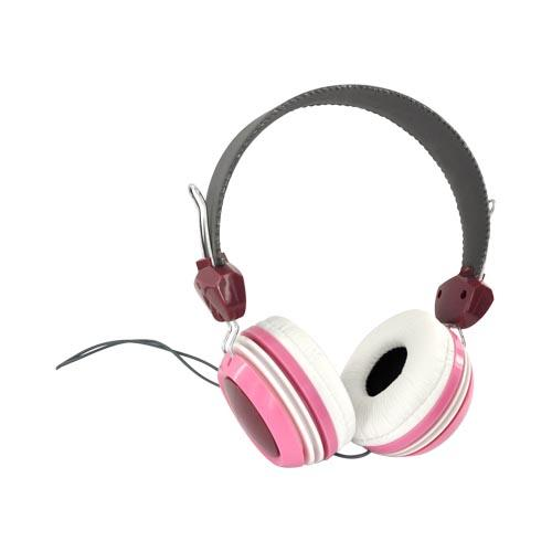 Original HYPE Universal Funky Headphones w/ Ear Cushions (3.5mm), HY-930-PNK - Pink/ Gray/ White/ Raspberry