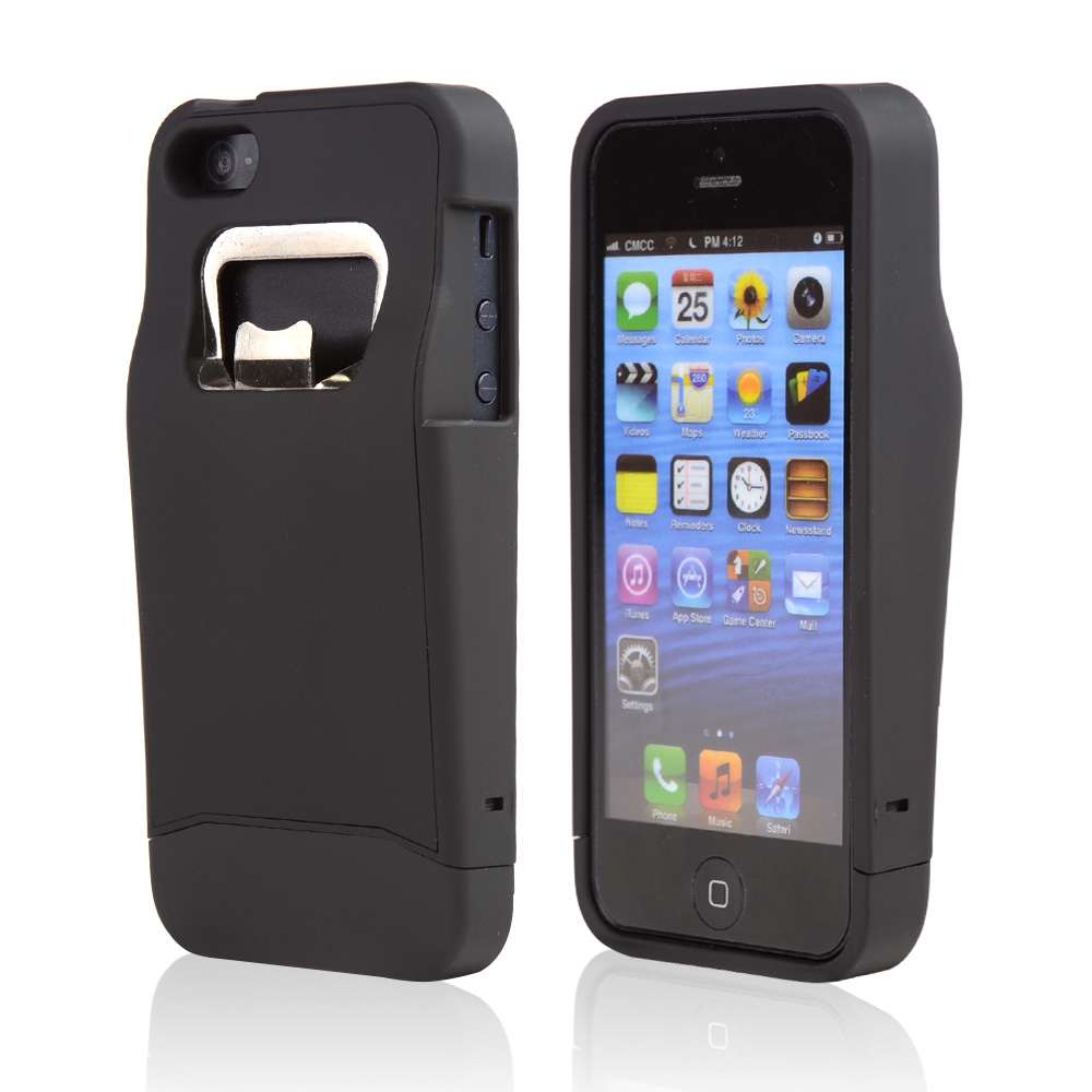 Black Rubberized Bottle Opener Slide-On Hard Case for Apple iPhone 5/5S
