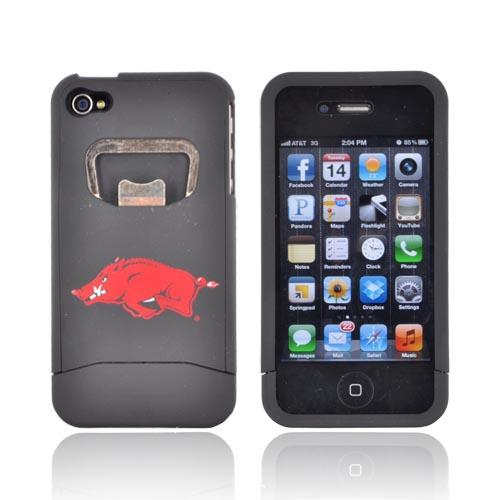 AT&T/ Verizon Apple iPhone 4, iPhone 4S Rubberized Bottle Opener Hard Case - University of Arkansas Razorbacks on Black