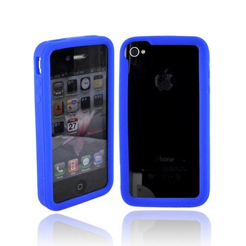 Original iLUV EDGE Apple Verizon/ AT&T iPhone 4, iPhone 4S Bumper Silicone Trim Case w/ Dual Protective Films, ICC700BLU - Soft Blue
