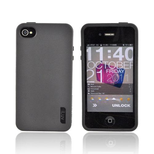 Original iLuv Gelato AT&T/ Verizon iPhone 4, iPhone 4S Soft-Coated TPU Silicone Case, ICC746BLK - Black