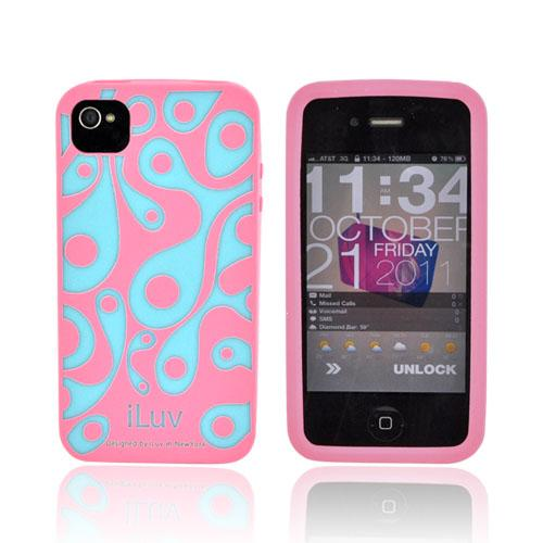 Original iLuv Aurora AT&T/ Verizon iPhone 4, iPhone 4S Glow-In-The-Dark Soft-Coated TPU Silicone Case, ICC765PNK - Salmon Pink/ Turquoise