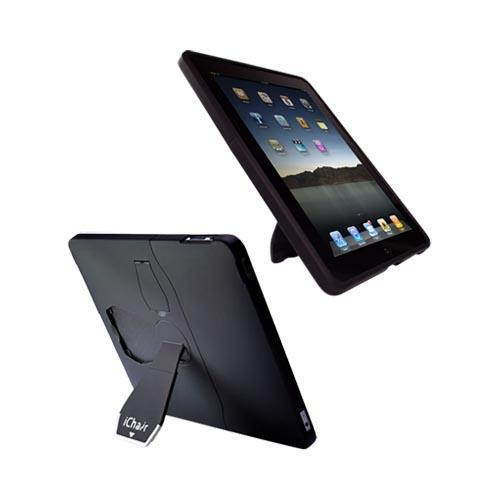 Original iChair Apple iPad (1st Gen) 1st Rubberized Hard Case w/ Kickstand and Screen Protector - Black/Blue