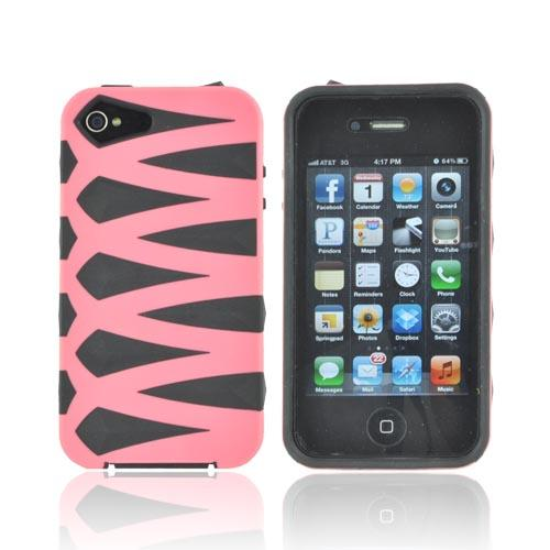 AT&T/ Verizon Apple iPhone 4, iPhone 4S Fusion Candy Case - Pink/ Black