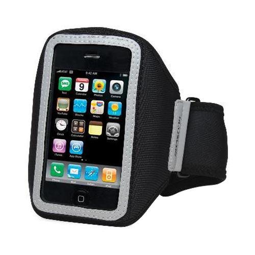 Original Scosche soundKASE Universal Apple iPhone/ iPod Armband Sports Case w/ Reflective Accents, Adjustable Strap, and Key Slot, IP3GAB - Black/ Gray (PUTXL)