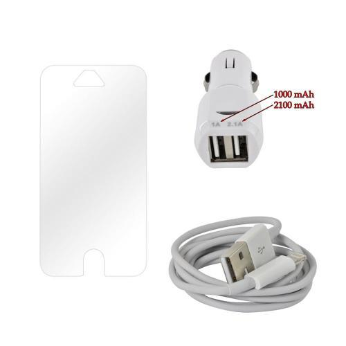 Lightning Cable + Clear Screen Protector for iPhone 5/5S + Universal Dual USB Car Charger (3100 mAh)