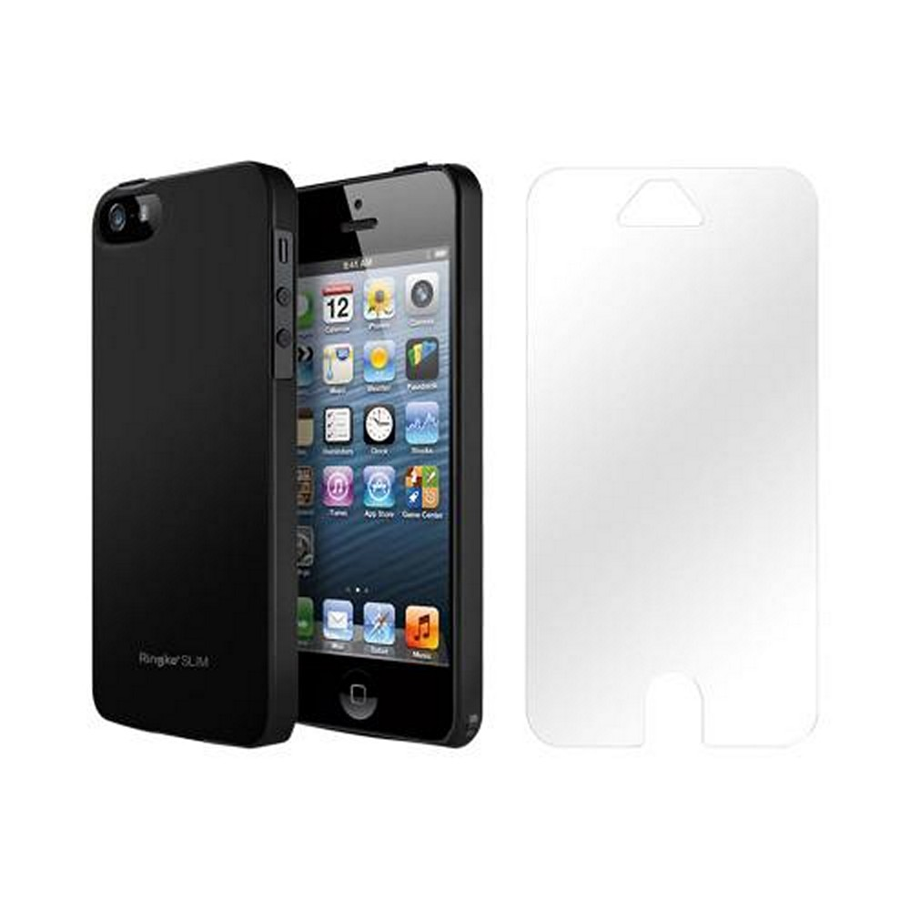 Apple iPhone 5/5S Vital Bundle w/ Rearth Slim Black Rubberized Hard Case & Clear Screen Protector