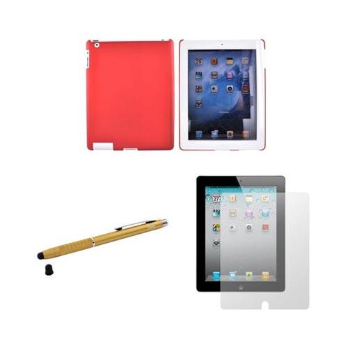 Apple iPad 2 Bundle Package w/ Red Rubberized Hard Case, Screen Protector, & Gold iClooly Stylus & Pen