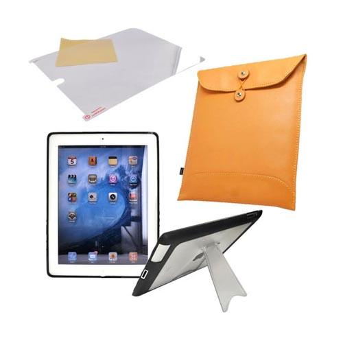 Apple iPad 2 Essential Bundle Package w/ Clear/Black Gummy Hard Case, Anti-Glare Screen Protector and Envelope Case